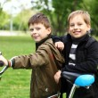 Boy on a bicycle in the green park — Stock Photo #6707747