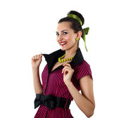 Young woman in bright colour dress — Stockfoto