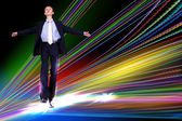 Businessman walking over Internet lines — Stock Photo