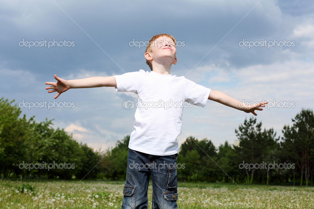 Carefree litlle boy outdoors embracing skies on lawn — Stock Photo #6706872
