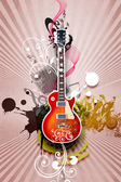 Guitar against decorative background — Stock Photo