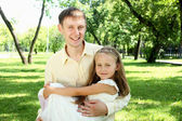 Father with daugther outside — Stock Photo