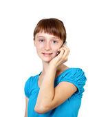 Pretty teenage girl with mobile phone — Stock Photo