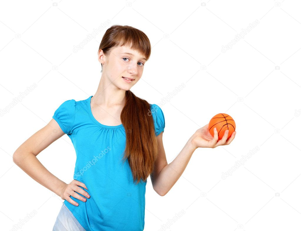 Pretty teenage girl with racket in studio on white background — Stock Photo #6730743