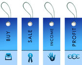 Blue labels with bussiness symbols — Stock Photo