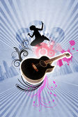 Kytara dekorativní pozadí — Stock fotografie