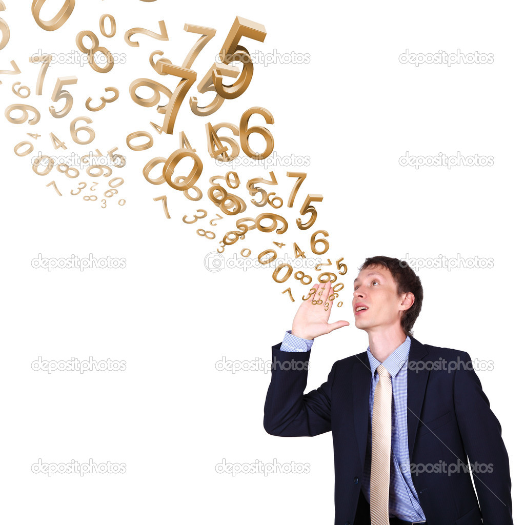 Business man in suit shouting with numbers and symbols — Stock Photo #6741583