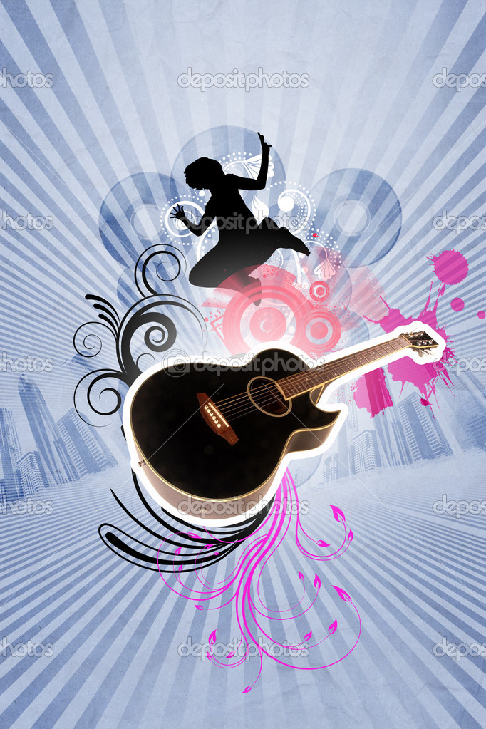 Image of a guitar against decorative background  Stock Photo #6741626