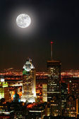 Montreal city at moonlight — Stock Photo