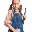 LIttle master girl with wrench — Stock Photo #5834190