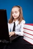 Girl with laptop — Stock Photo