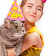 Stock Photo: Birthday girl and cat