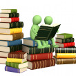 Stock Photo: 3d puppets, reading books