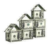 Häuser aus dollar-banknoten — Stockfoto