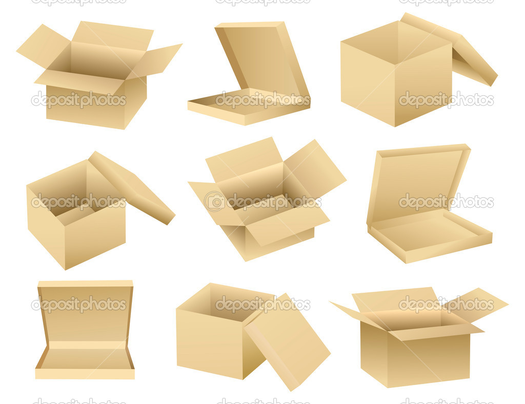 Vector collection of open empty boxes — Stock Vector #5483609
