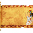 Scroll with Egyptian goddess Isis image - Stock Photo