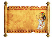 Scroll with Egyptian goddess Isis image — Stock Photo