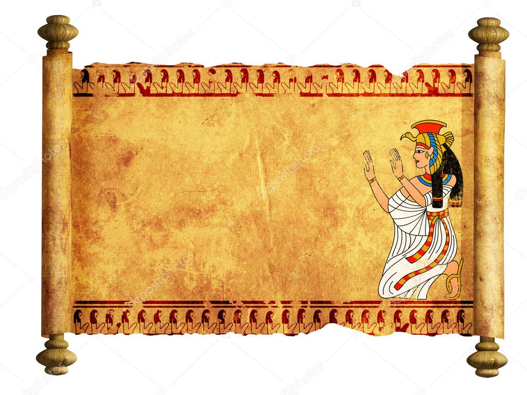 Scroll with Egyptian goddess Isis image. Isolated over white — Stock Photo #5544571
