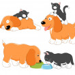 Kitty and puppy — Stock Vector