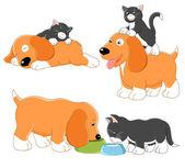 小猫和小狗 — 图库矢量图片