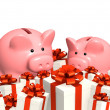 Stock Photo: Piggy bank and gifts