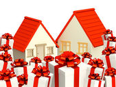 Houses and gifts — Stock Photo