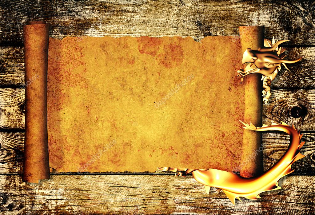 Dragon and scroll of old parchment. Over wooden planks — Stock Photo #5688538