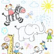Vector de stock : Vector sketches happy children