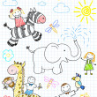 Vetorial Stock : Vector sketches happy children