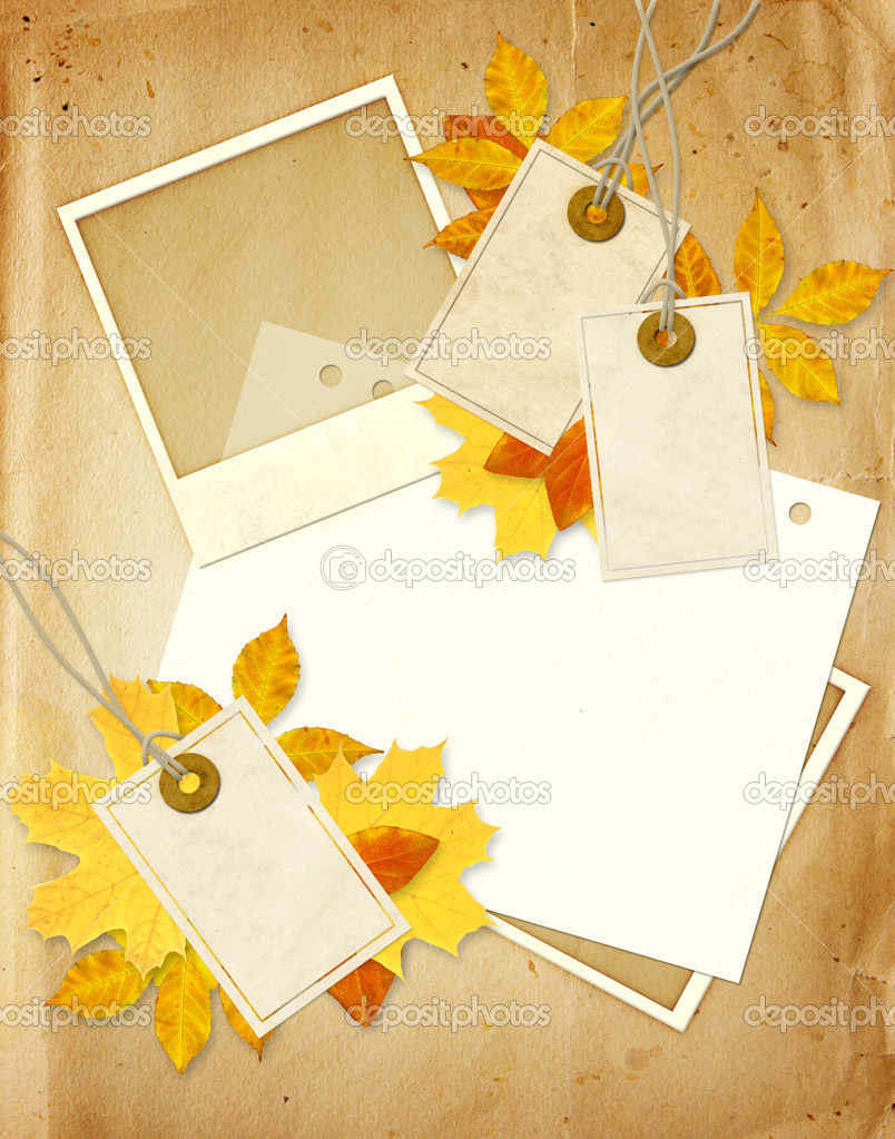 Grunge background with photo, labels and autumn leaves — Stock Photo #5791877