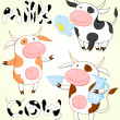 Vector collection of funny cows - Stock Vector