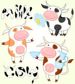 Vector collection of funny cows — Stock Vector