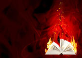 Book of magic fire — Stock Photo