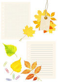Notebook pages, labes and autumn leaves — 图库照片