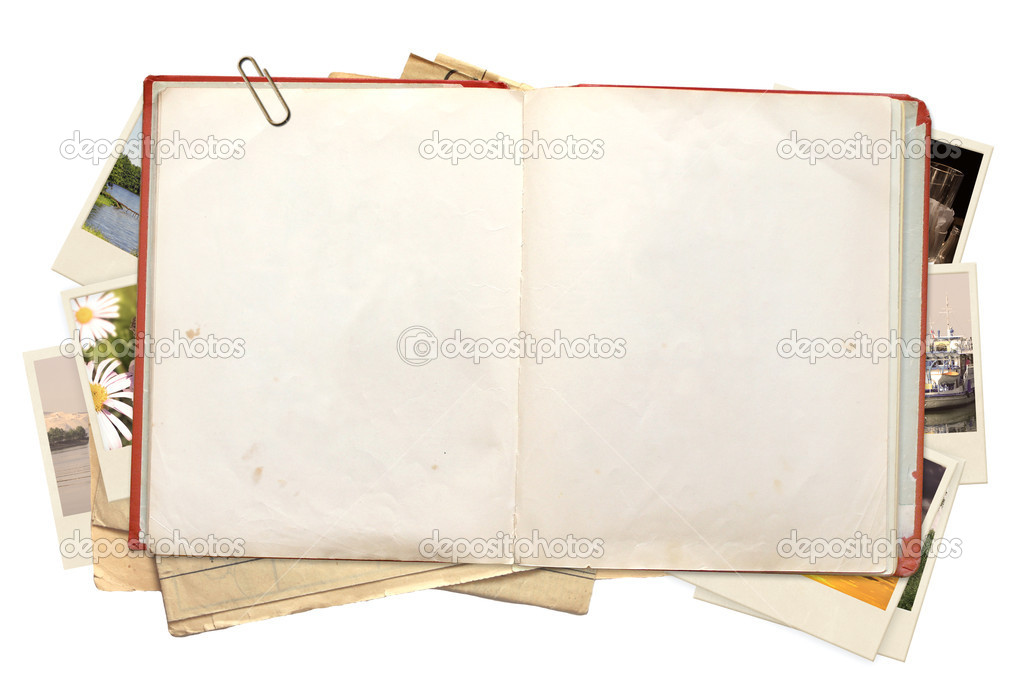 Old book and photos. Objects isolated over white — Stock Photo #6321862