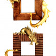Dragons and wooden frames — Stock Photo