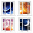 Collection of space windows - Stock Photo