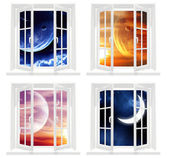 Collection of space windows — Stock Photo