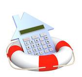 Calculator and lifebuoy — Stock Photo