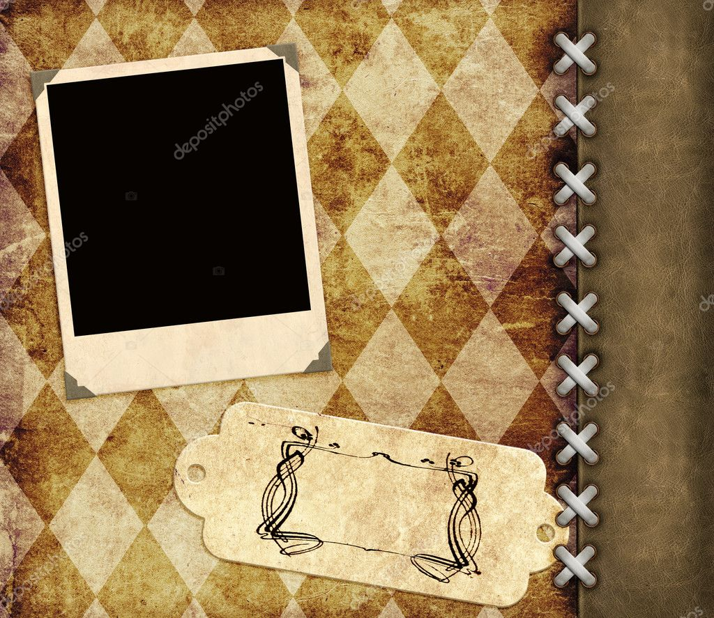 Leather grunge background with label and photo for scrapbooking — Stock Photo #6696700