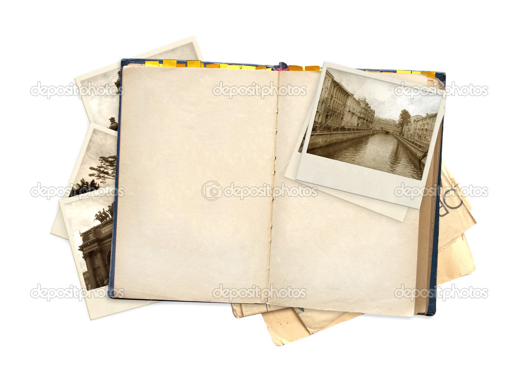 Old book and photos. Objects isolated over white — Stock Photo #6696734