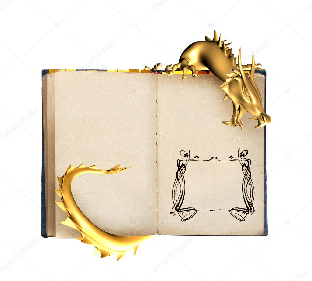 Dragon and old book. Object isolated over white — Stock Photo #6696866