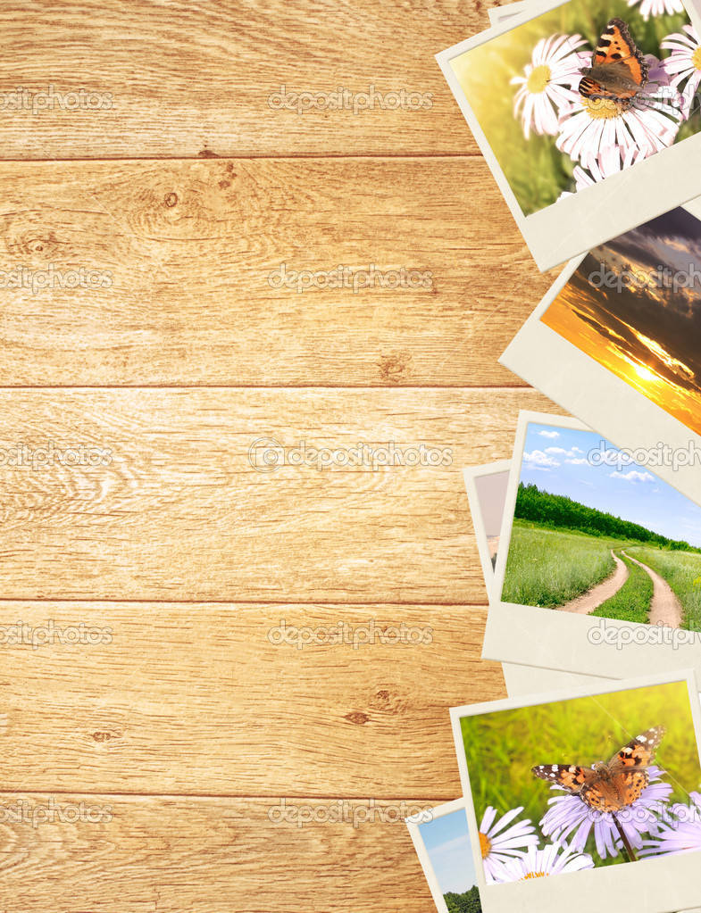 Frame with old photos. Objects over wooden planks  Stock Photo #6696969