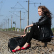 Railway girl — Stock Photo
