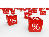 Red cubes with percent — Stock Photo