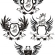 set of grunge vector heraldic shields with gryphon — Stock Vector