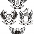 Stock Vector: Set of grunge vector heraldic shields with gryphon