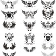 Collection of grunge vector coat of arms - Stock Vector