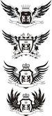 Conjunto de escudos vintage vector grunge con leones — Vector de stock
