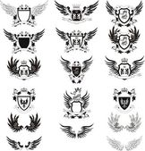 Collection of grunge vector coat of arms — Stock Vector